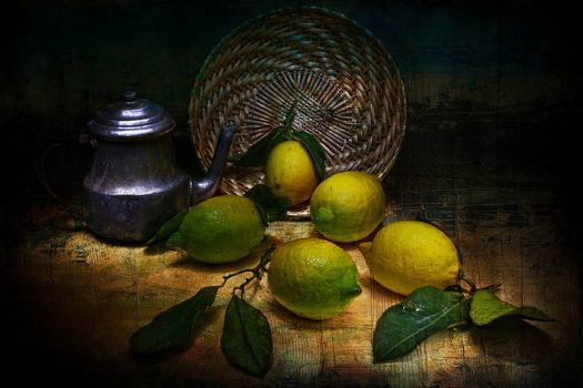Photo free lemons, kettle, still life