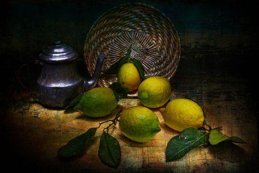 Фото бесплатно лимоны, чайник, натюрморт