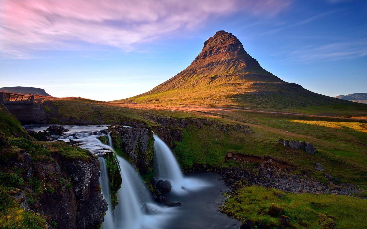 Обои горы, река, водопад картинки на телефон