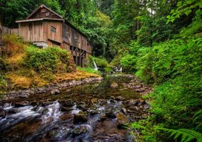 Фото бесплатно Cedar Creek Grist Mill, Woodland, Washington, Вудленд, штат Вашингтон, река, мельница, лес