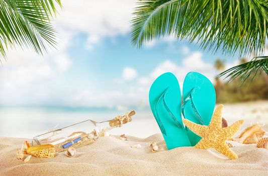 Фото бесплатно Морская звезда, море, бутылка