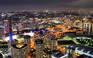 Фото бесплатно ночной город, огни, небоскребы, мегаполис