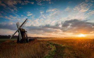 Бесплатные фото поле,трава,дорога,ветряная мельница,строение,деревья,небо