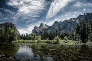 Заставки река, лес, Йосемитский национальный парк