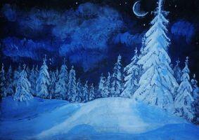 Обои зима, холмы, деревья, ночь, месяц, art