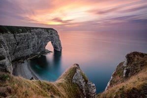 Бесплатные фото Этрета, закат солнца, Франция, закат, море, скалы, арка