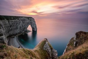 Photo free Etretat, sunset, France