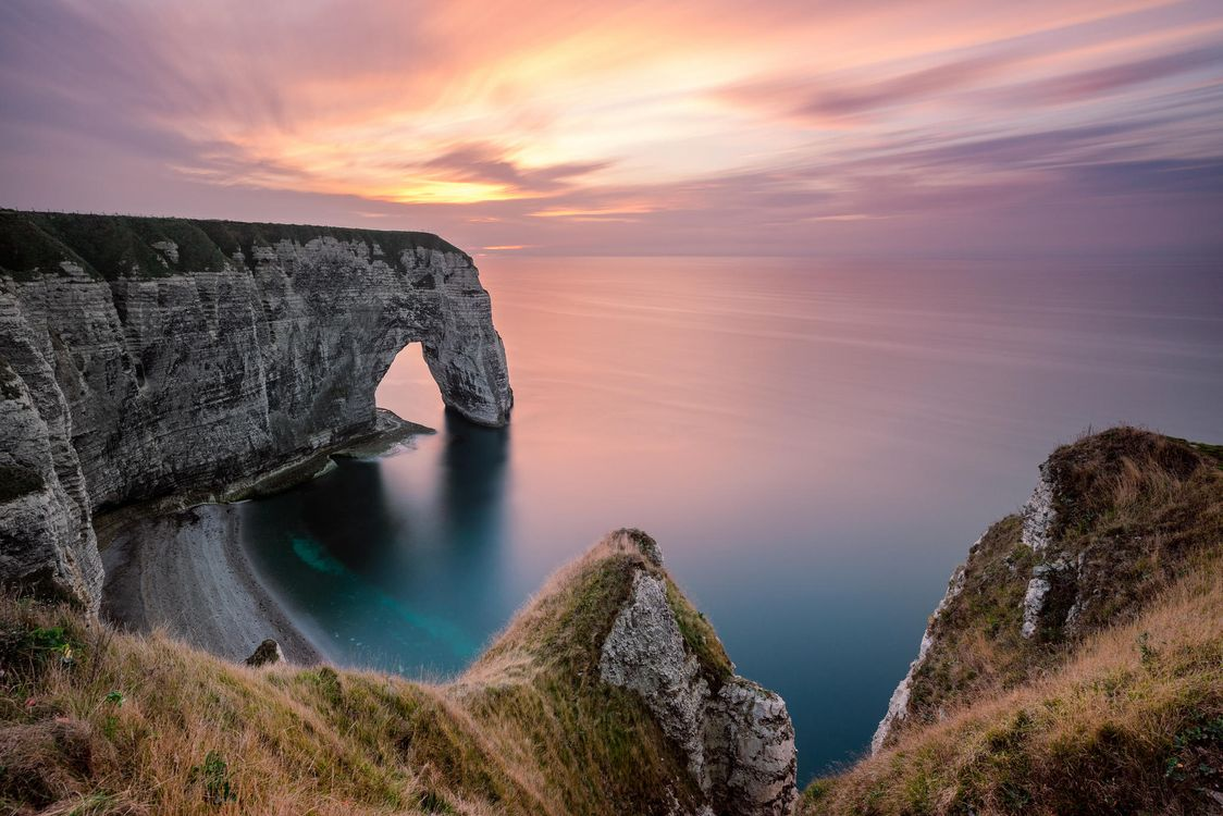 Photos for free Etretat, sunset, France - to the desktop