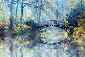 Бесплатные фото осень,речка,канал,мост,деревья,парк,солнечные лучи