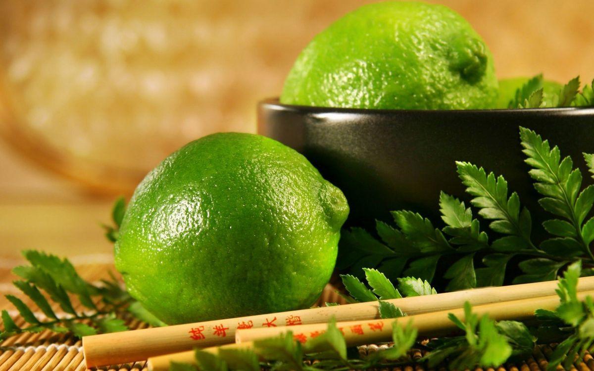 Фото бесплатно фрукты, лайм, листья - на рабочий стол
