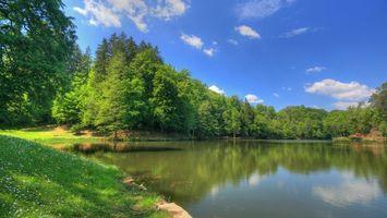 Заставки берег,трава,деревья,река,небо,облака