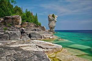 Бесплатные фото маленький вазон,вазон остров,Национальный морской парк,Национальный парк полуострова,Онтарио,море скалы,деревья