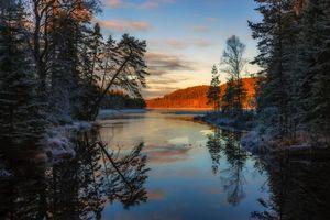 Заставки закат, река, лес