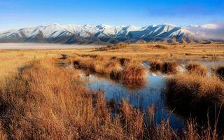 Бесплатные фото трава, сухая, озеро, горы, вершины, снег, небо