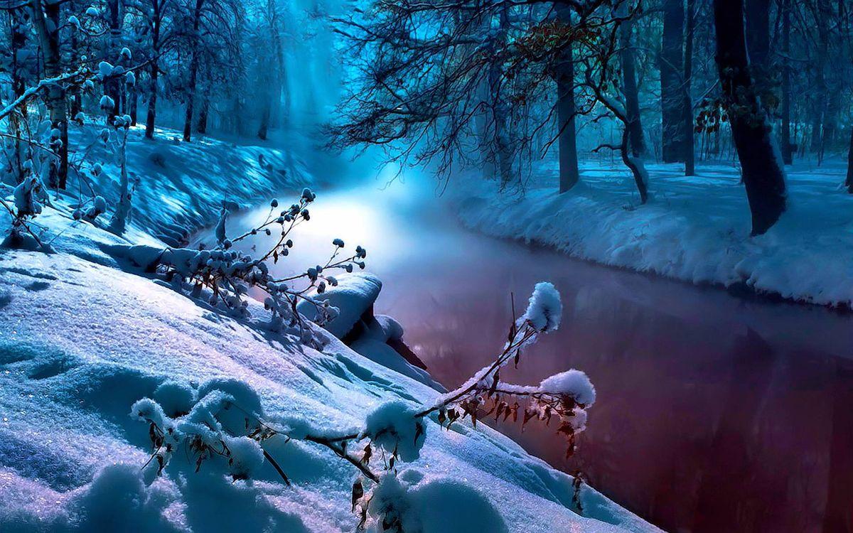 Фото бесплатно зимняя река, сугробы, лес, деревья, ночь - на рабочий стол