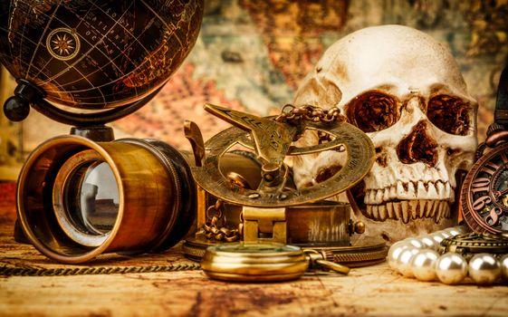Заставки натюрморт, глобус, череп
