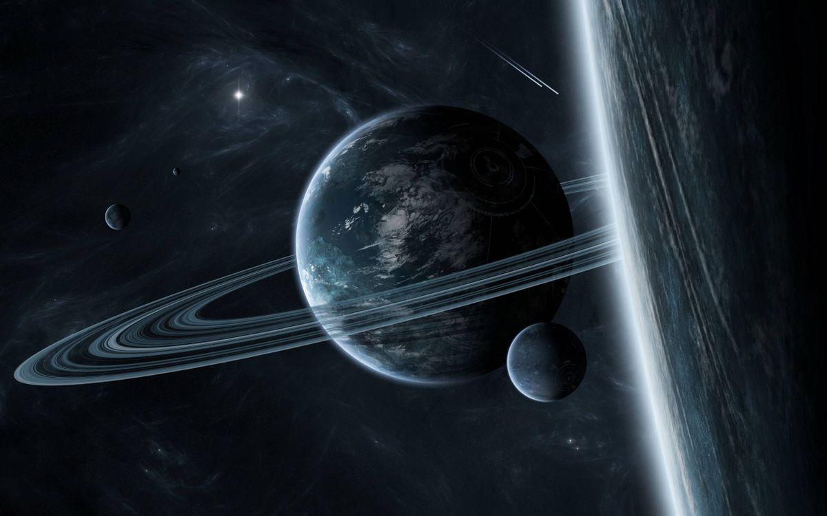 Фото бесплатно планета, спутник, кольца, космос - скачать на рабочий стол