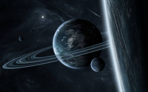 The photo on the phone, planet, satellite