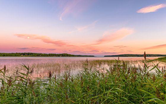 Заставки Карлстад,Вермланда,Швеция,Природа,Пейзаж,морской пейзаж,закат