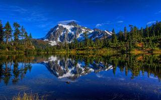 Бесплатные фото озеро,отражение,трава,деревья,лес,горы,снег