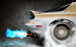 Фото бесплатно тачка, спойлер, тюнинг, выхлоп, огонь, пламя, колеса, обороты, дым