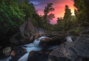 Бесплатные фото закат,речка,ручей,водопад,скалы,деревья,пейзаж