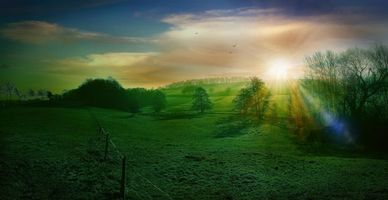 Заставки закат, поле, холмы