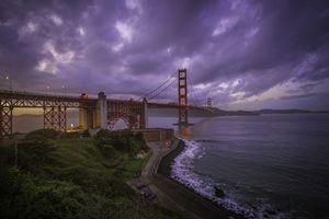 Фото бесплатно Сан-Франциско, закат солнца, Мост Золотые ворота