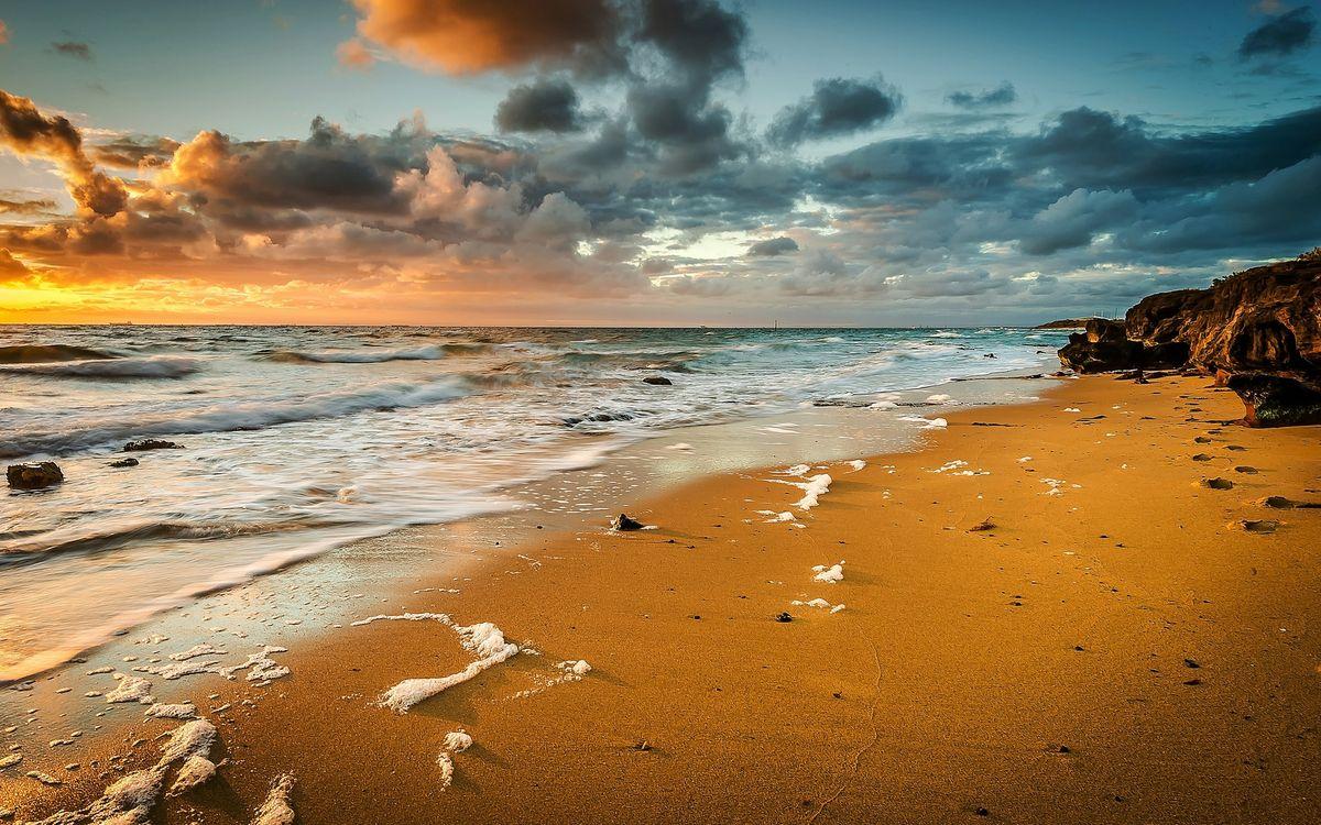 Фото бесплатно волны, песок, облака - на рабочий стол