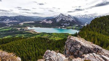 Фото бесплатно горы, скалы, камни, лес, деревья, озер, небо