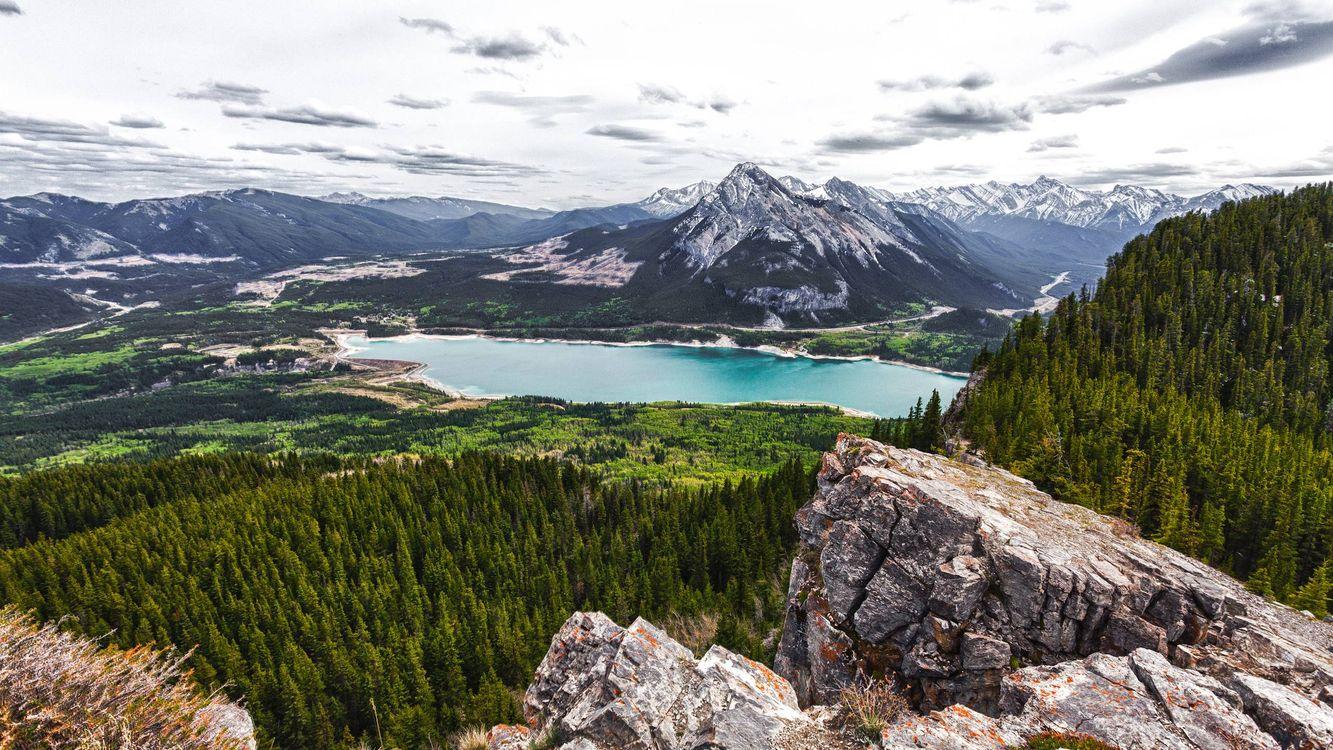 Фото бесплатно горы, скалы, камни, лес, деревья, озер, небо, природа