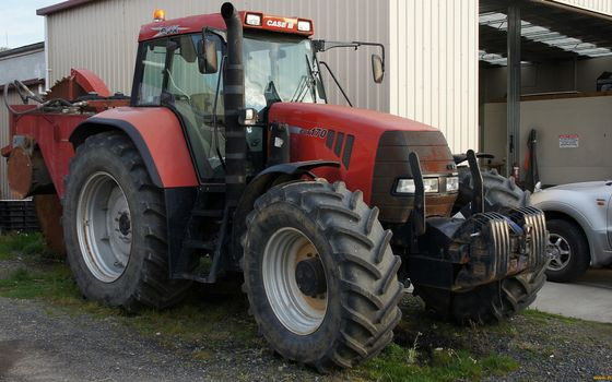 Photo free agricultural machinery, tractor, red