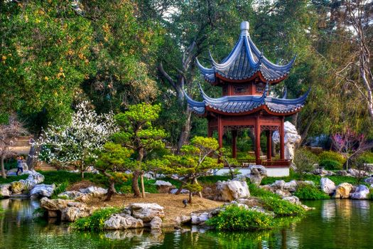 Фото бесплатно Японский сад, водоём, деревья, беседка, пейзаж