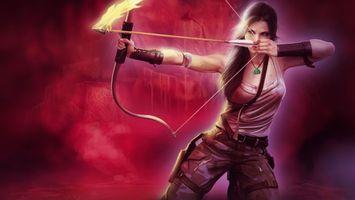 Бесплатные фото девушка,воин,лук,тетива,стрела,огонь