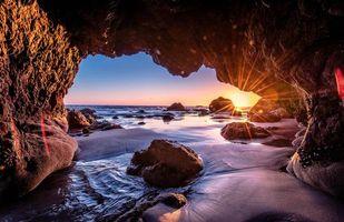 Бесплатные фото Malibu,закат,море,волны,берег,скалы,арка