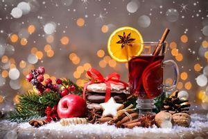 Фото бесплатно Новогодний натюрморт, чай с лимоном, Новый год
