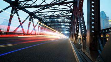 Заставки мост,конструкция,дорога,автомобиль,скорость,фото с задержкой,огни