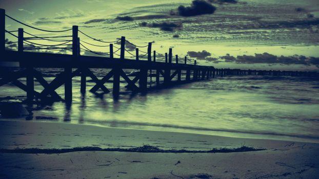 Фото бесплатно док, вечер, море