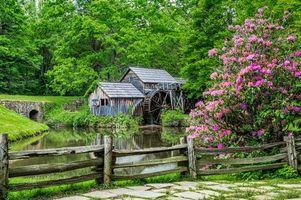Заставки река, лес, деревья, водяная мельница, забор, пейзаж