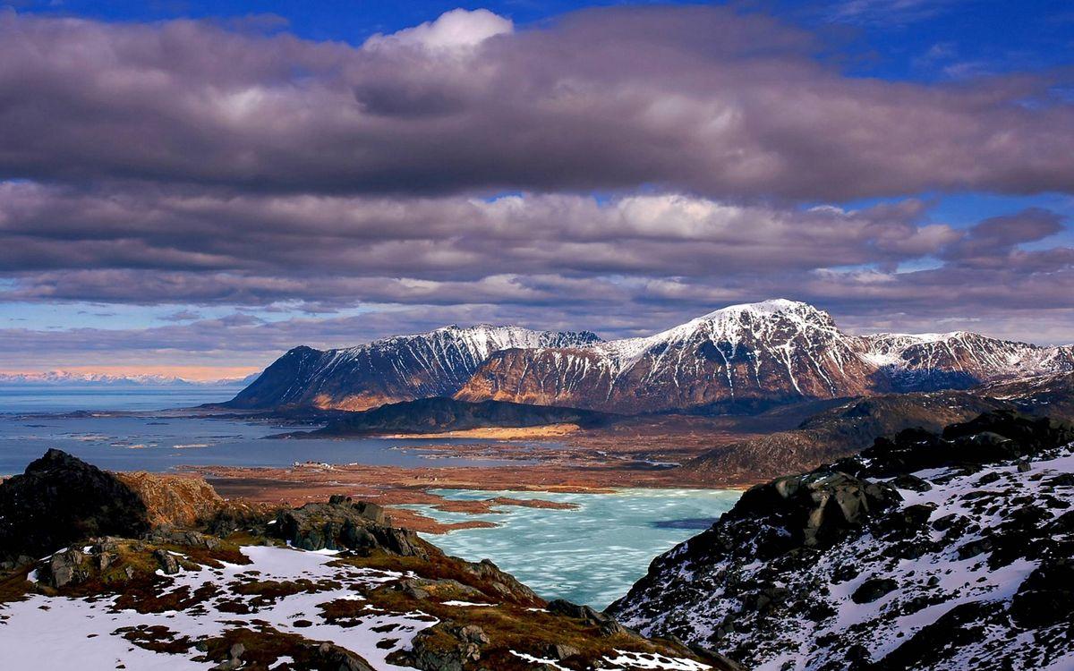 Фото бесплатно горы, снег, море, лед, небо, облака, природа