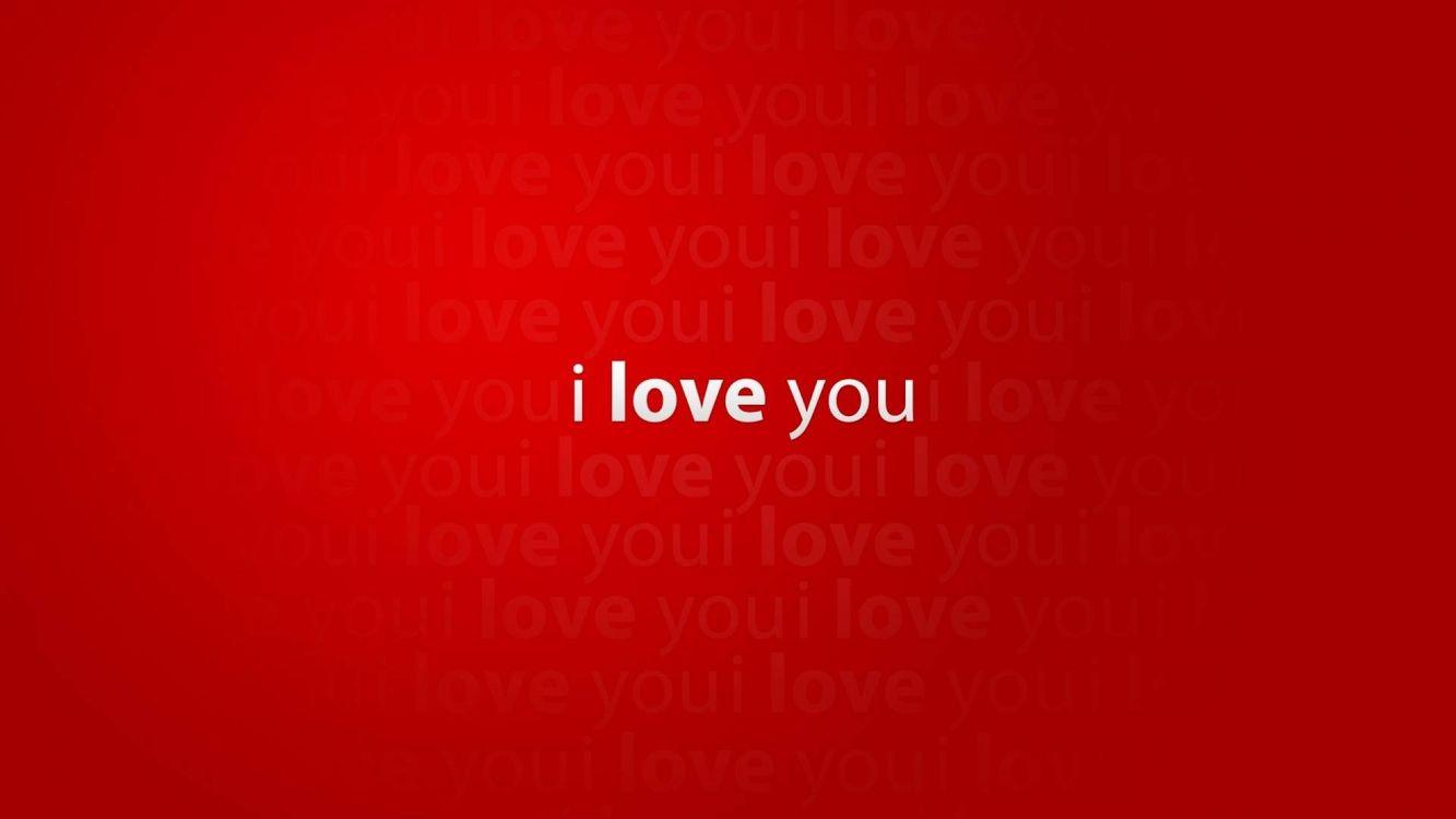 Фото бесплатно i love you, надпись, красный, фон, минимализм