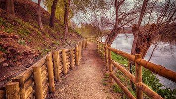 Бесплатные фото Камино де Мальпика,Испания,река,дорога,деревья,пейзаж