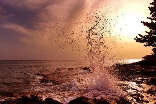 Фото бесплатно закат, море, всплеск