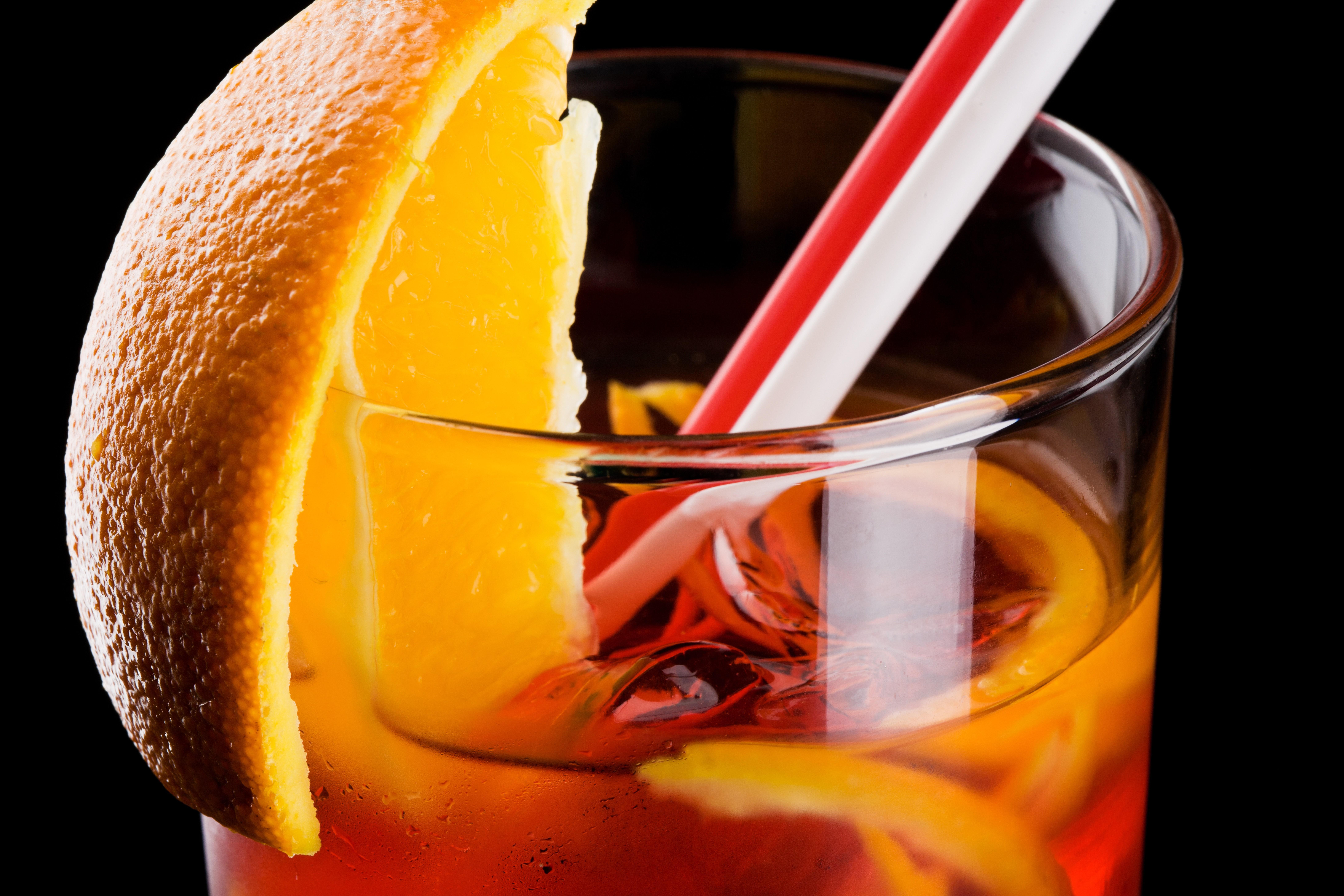 коктейль, бокал, апельсин