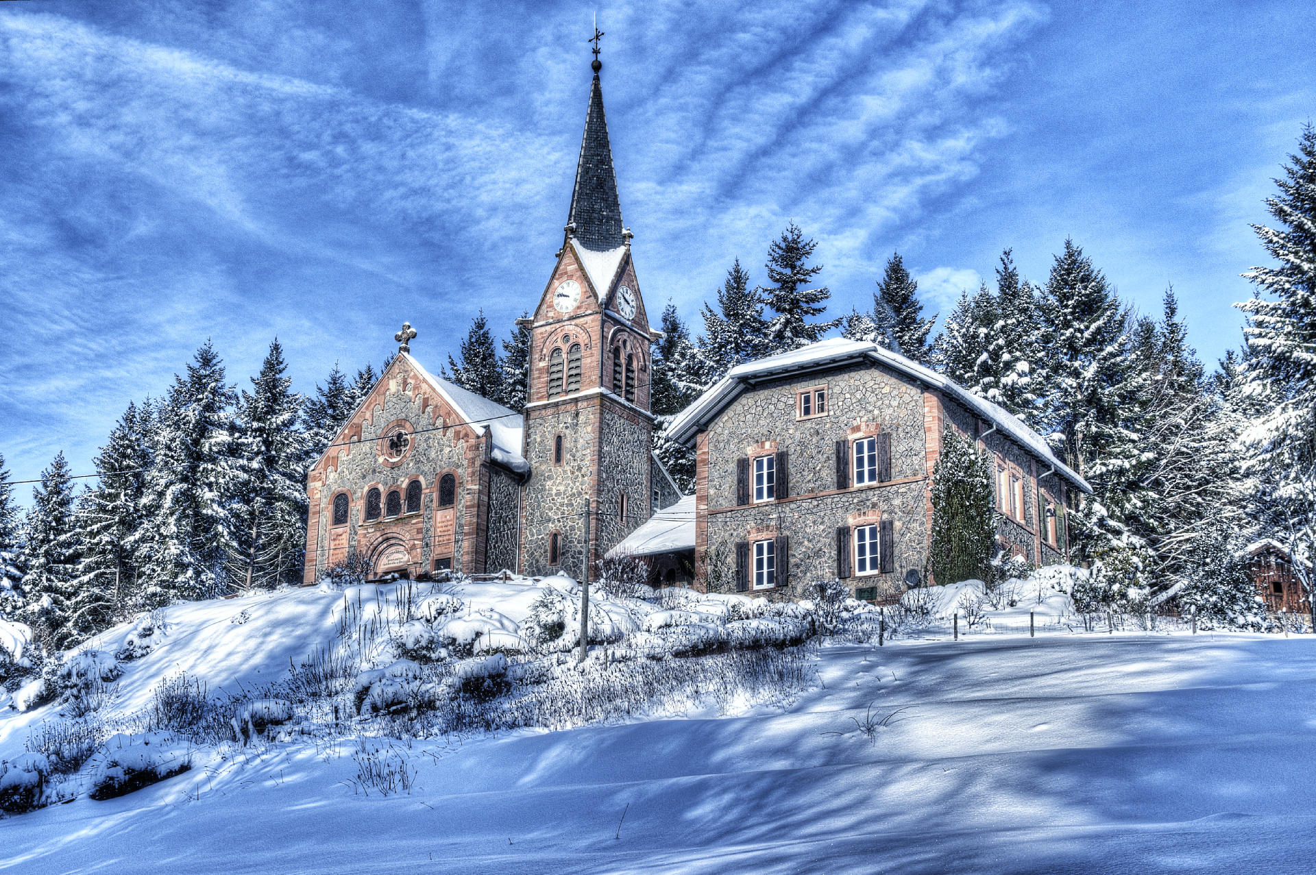 церковь, зима, деревья