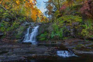 Фото бесплатно водопад, лес, деревья