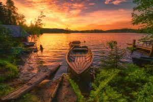 Фото бесплатно закат, деревья, домик
