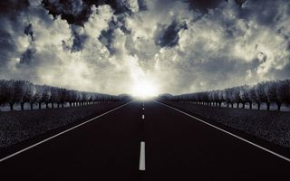 Фото бесплатно горизонт, дорожная разметка, облака