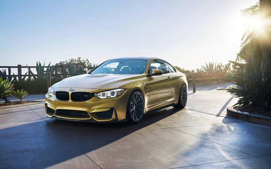 Бесплатные фото золотая BMW