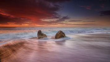 Бесплатные фото пляж,Bicas,Португалия,море,волны,закат,берег